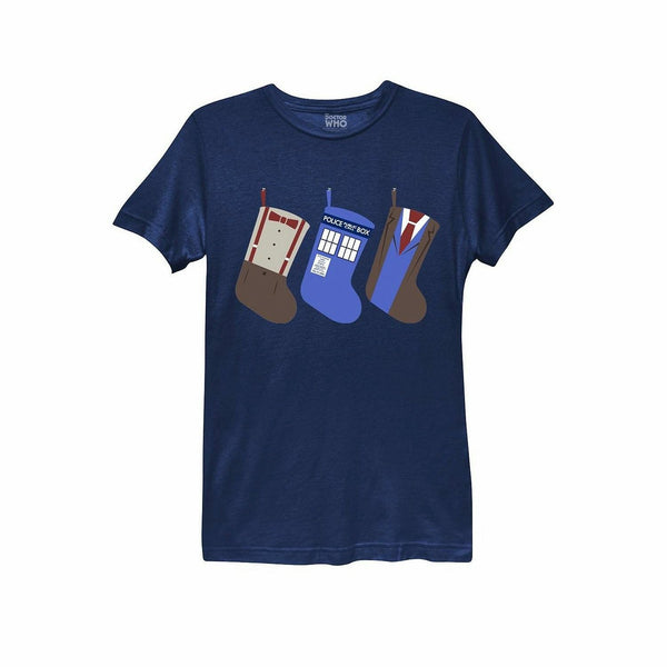 Doctor Who Christmas Stocking Juniors Navy Blue T-Shirt