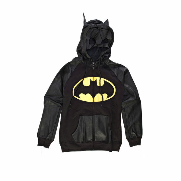 DC Comics Batman Half Mask Juniors Zip-Up Hoodie Sweatshirt