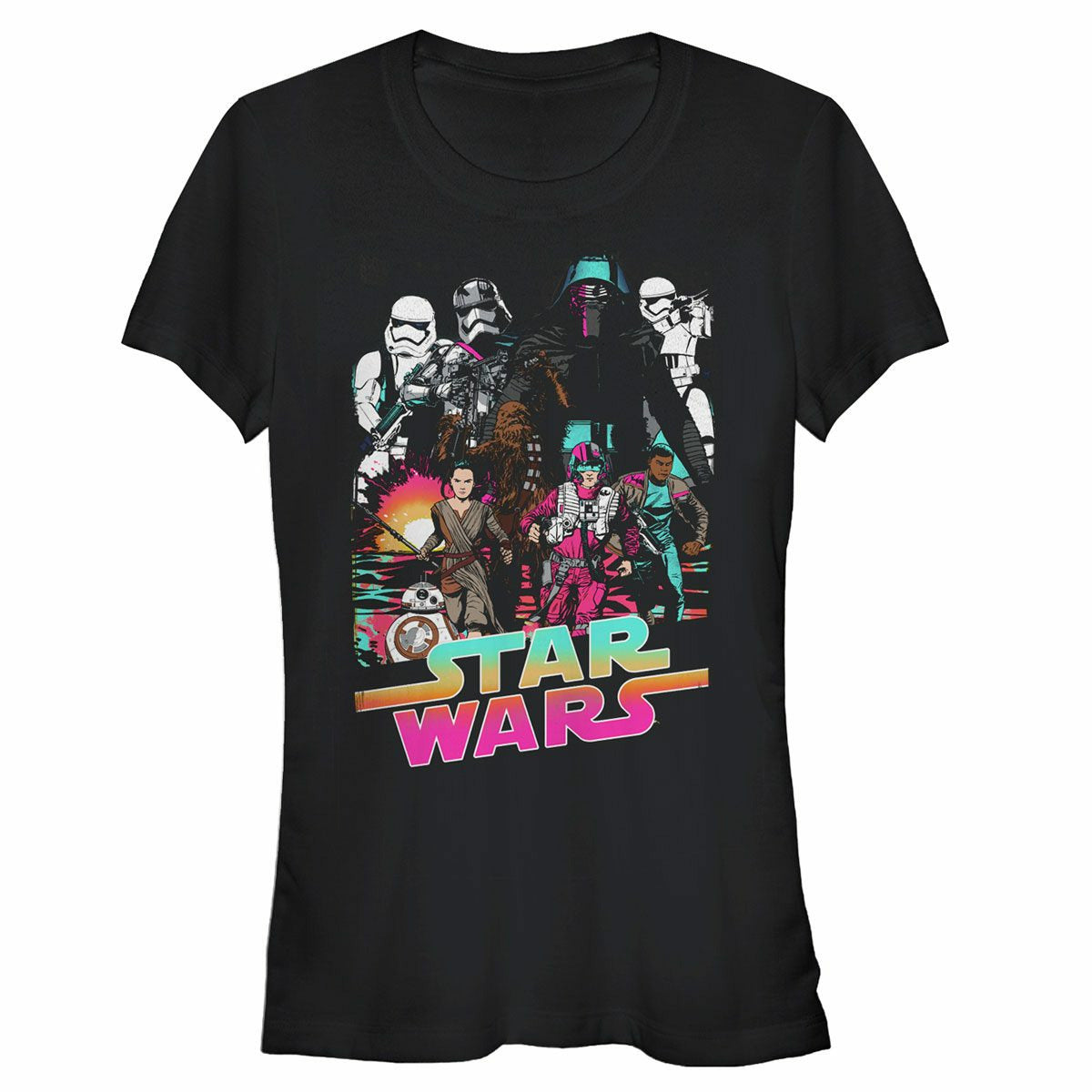 Star Wars VII: The Force Awakens Desert Storm Juniors Black T-Shirt