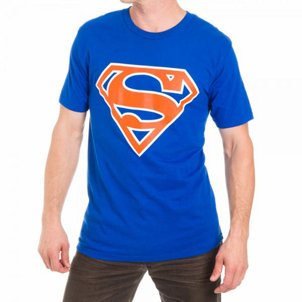Superman Orange Logo Mens Blue T-Shirt