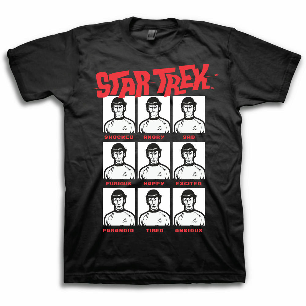 Star Trek The Moods of Spock Mens Black T-Shirt