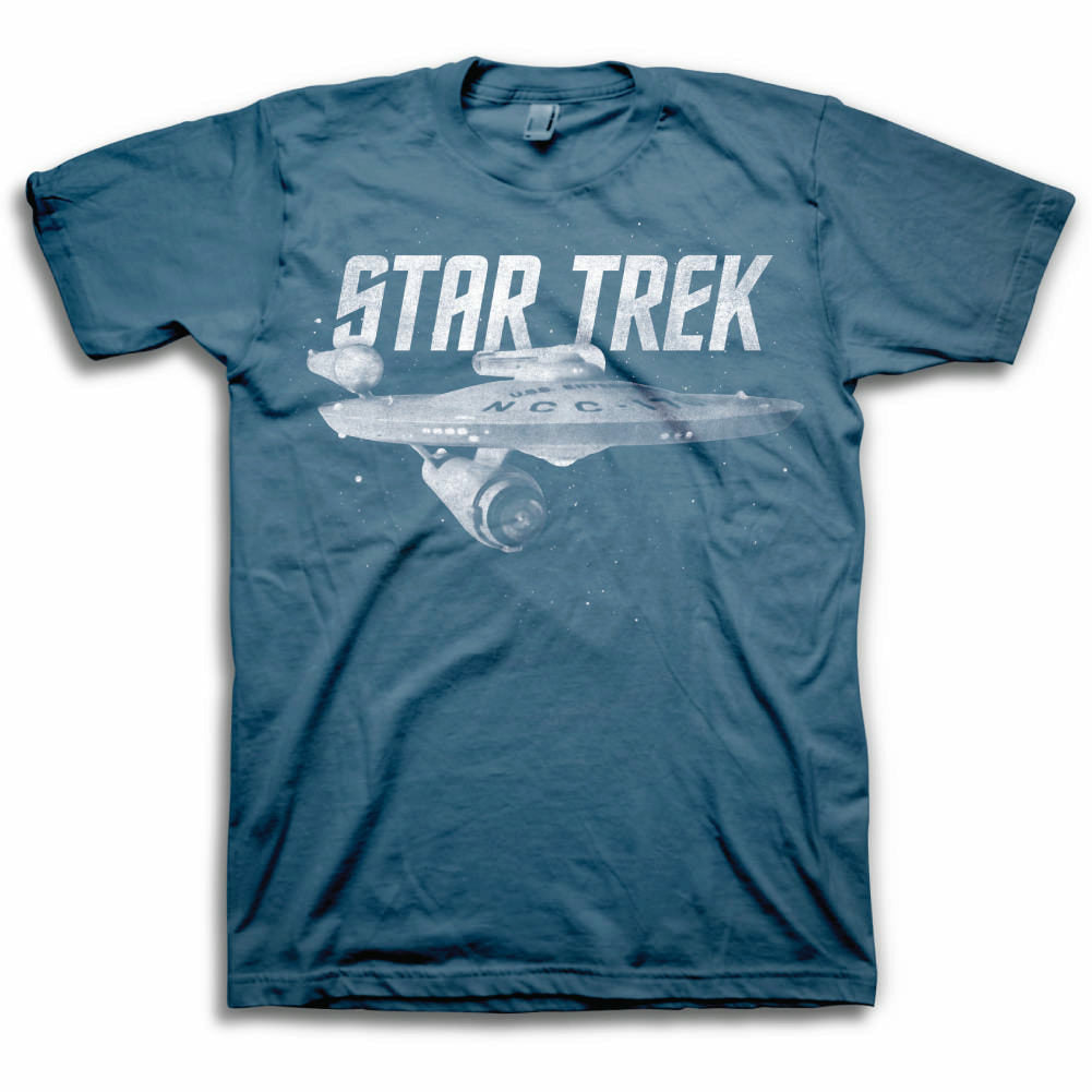 Star Trek Enterprise Ship Mens Blue T-Shirt