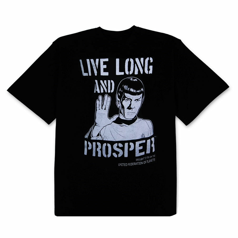 Star Trek Spock Live Long and Prosper Mens Black T-Shirt