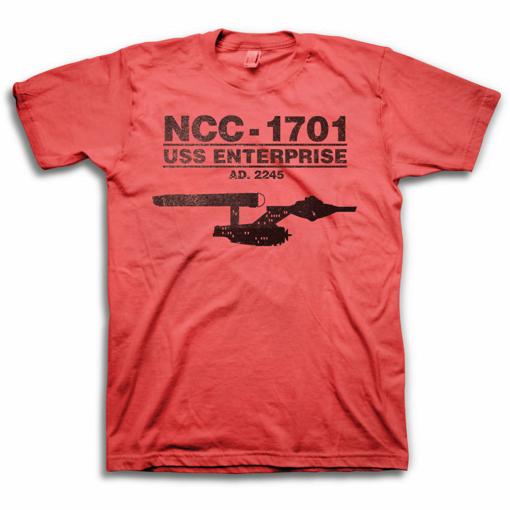 Star Trek U.S.S. Enterprise NCC-1701 Mens Red T-shirt