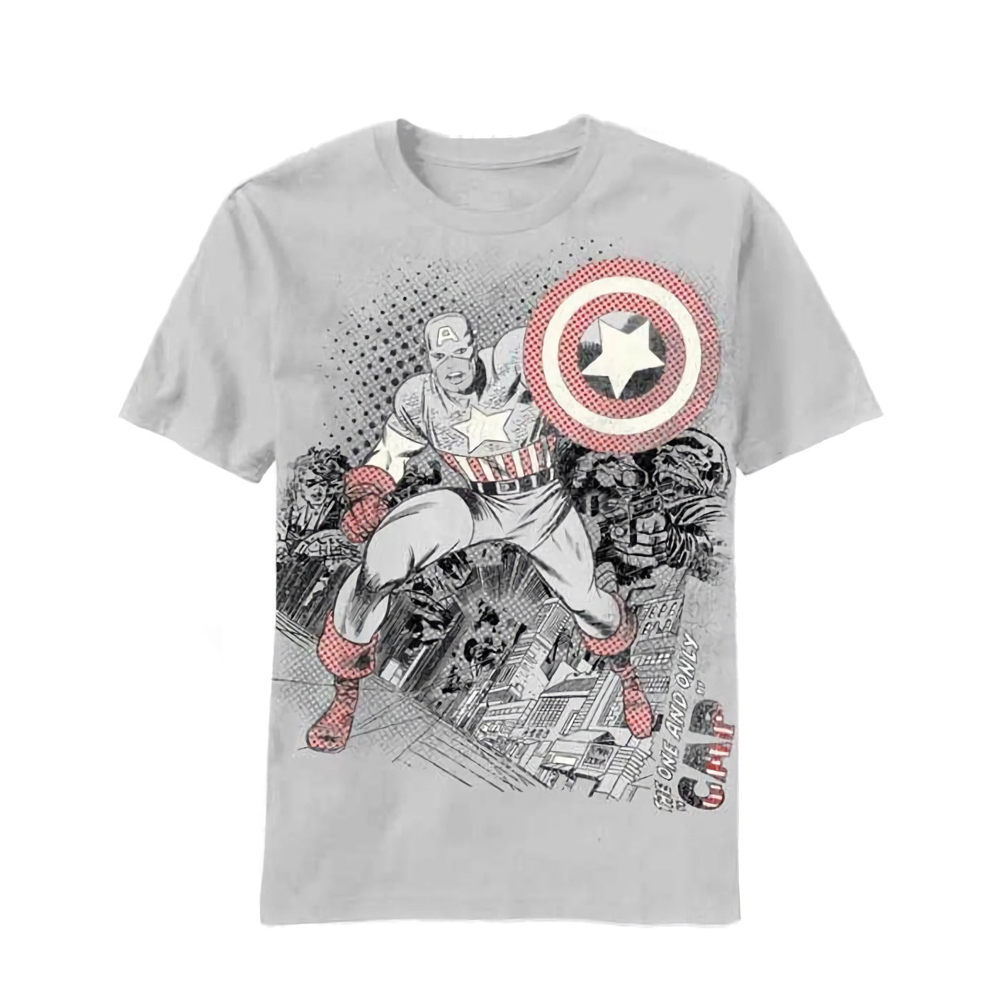 Marvel Comics Capatain America Unpredictable Men's Stone Grey T-Shirt