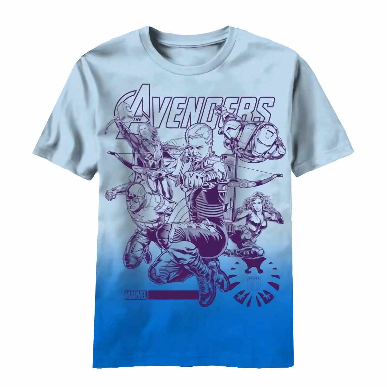 The Avengers Movie Marvel Team Ups Impakted Blue T-Shirt