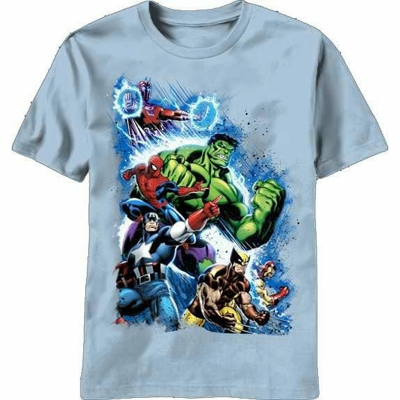 Marvel Team Ups Second War Carolina Blue T-Shirt