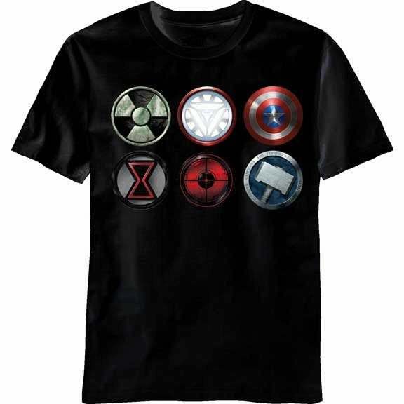 The Avengers Movie Straight SIX Logo Black Mens T-Shirt
