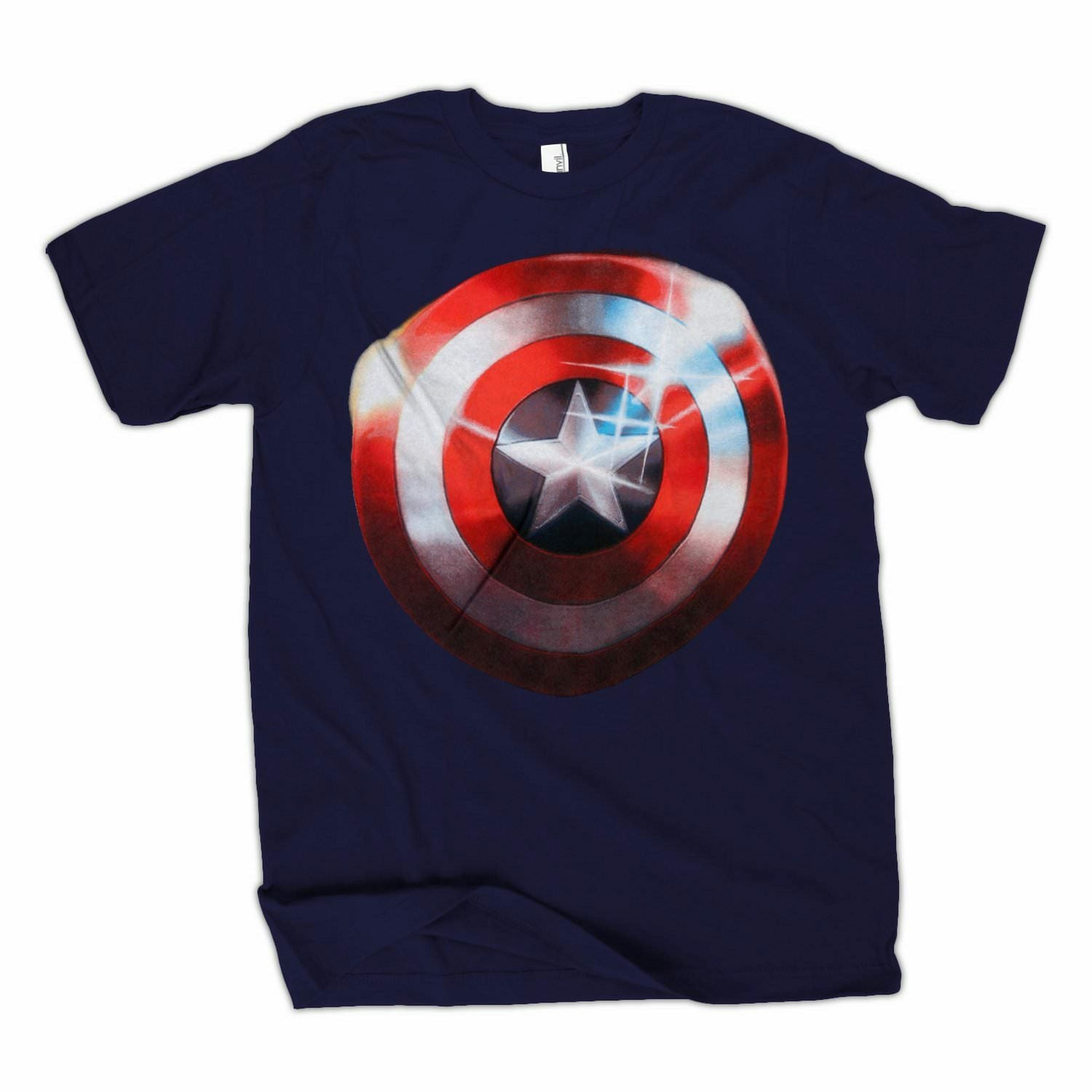 The Avengers Movie Captain America Polished Shield Logo Navy T-Shirt