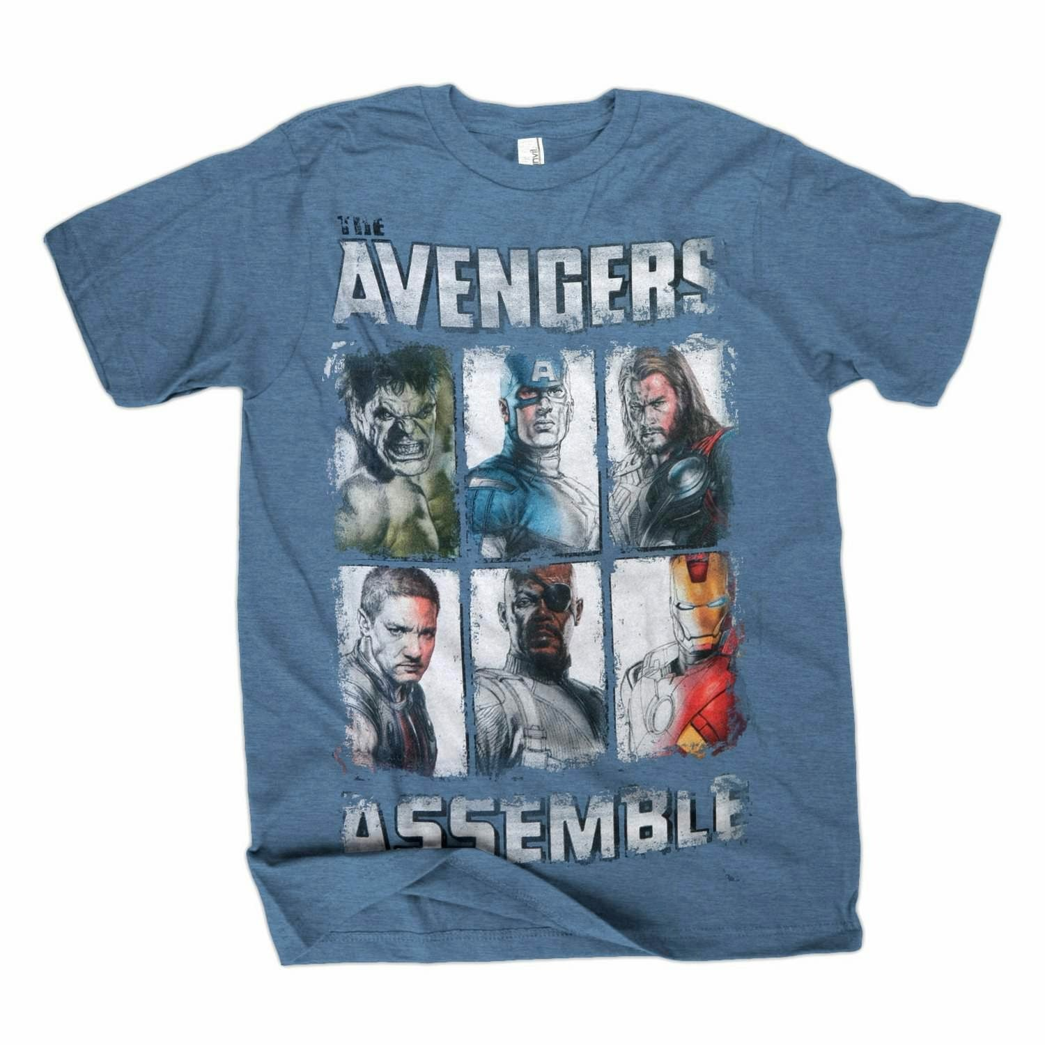 The Avengers Movie Assemble Group Shot Slate T-Shirt
