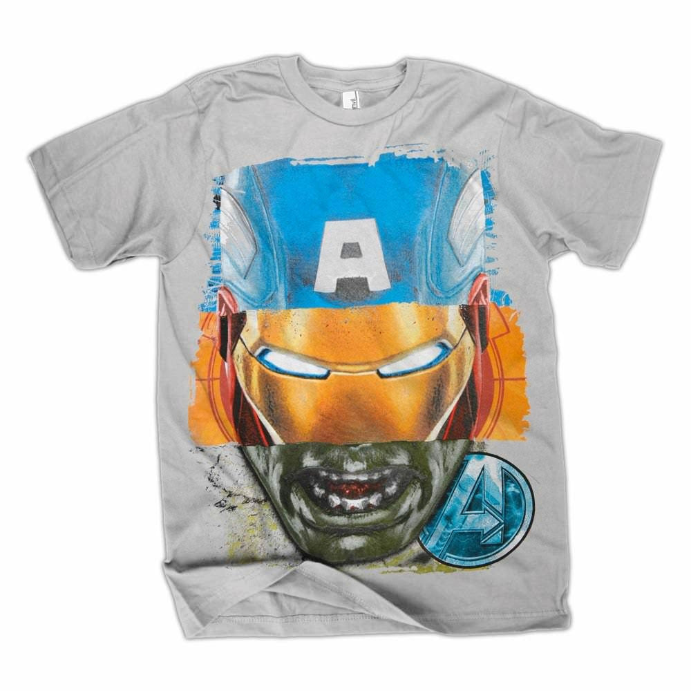The Avengers Triple Face Silver T-Shirt