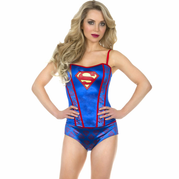 DC Comics Superman Pattern All Over Womens Corset with Panties