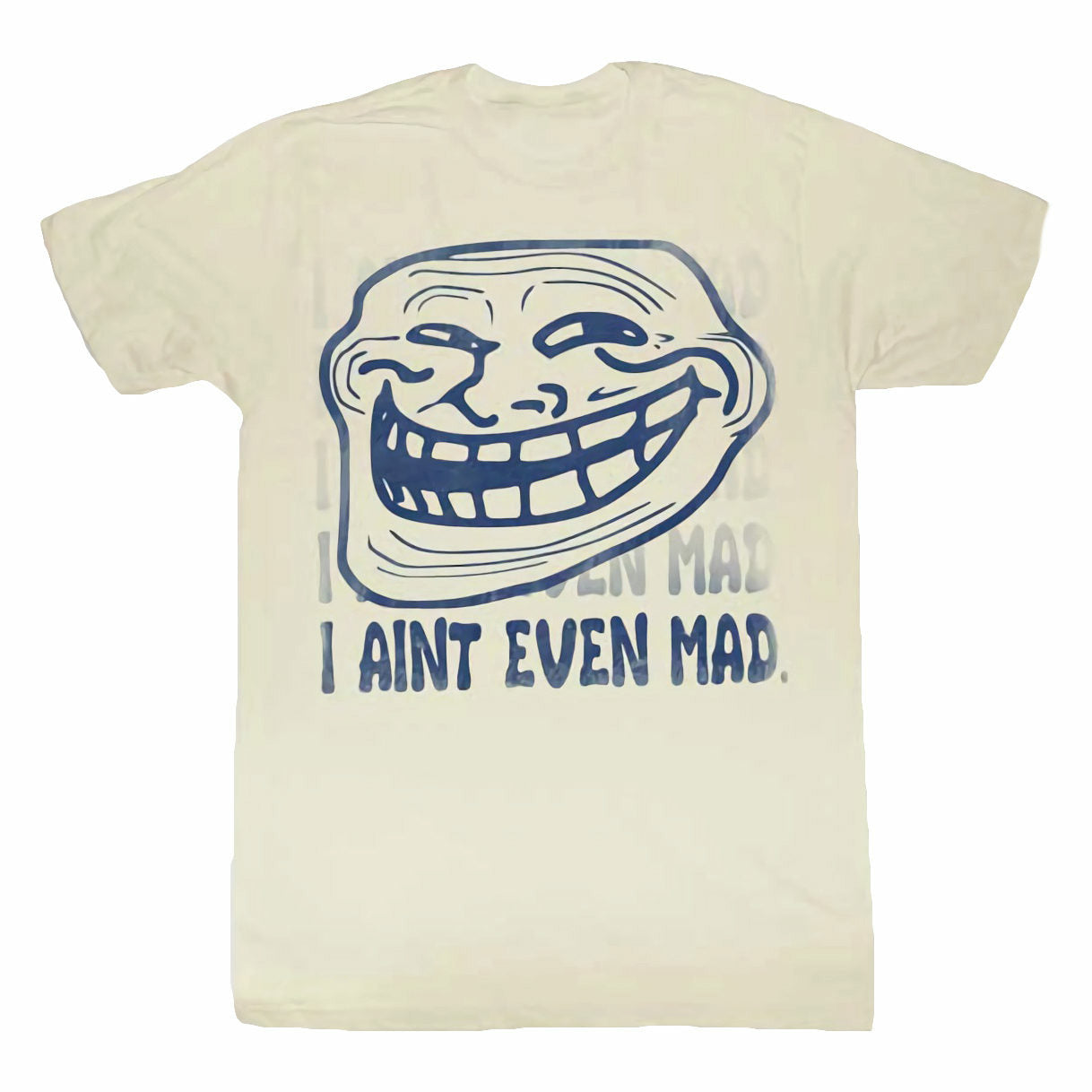 Troll Face You Mad I Aint Even Mad Mens Vintage White T-Shirt