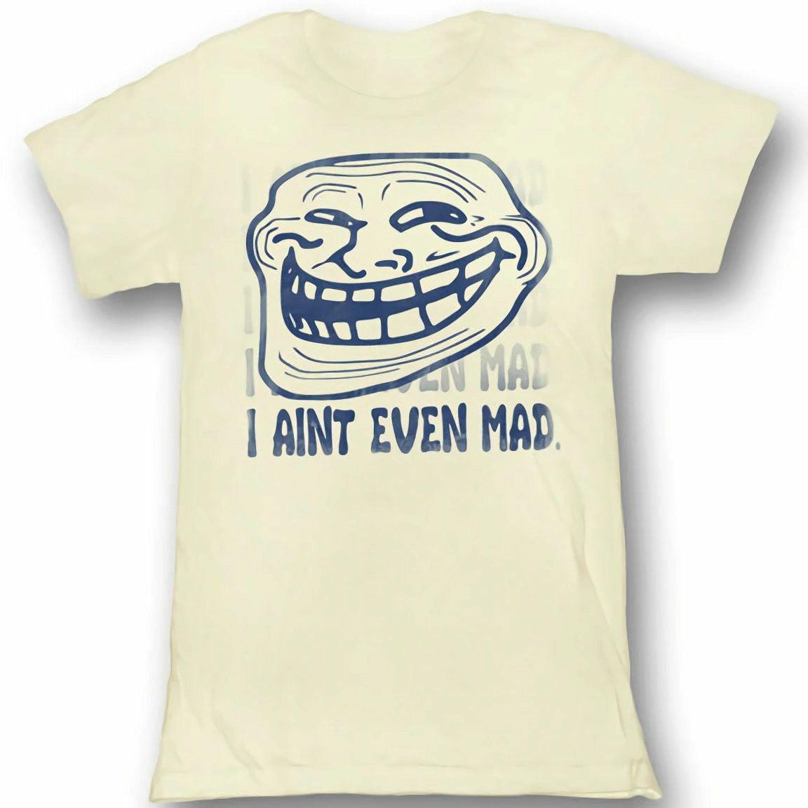 Troll Face You Mad I Aint Even Mad Juniors Vintage White T-Shirt