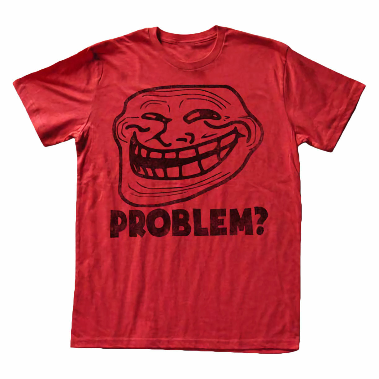 Troll Face You Mad Problem? Mens Lightweight Red T-Shirt