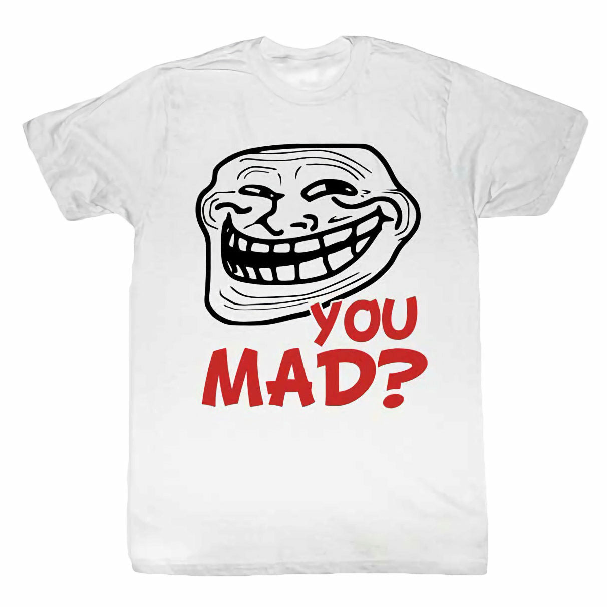 Troll Face You Mad Still Mad Mens Lightweight White T-Shirt