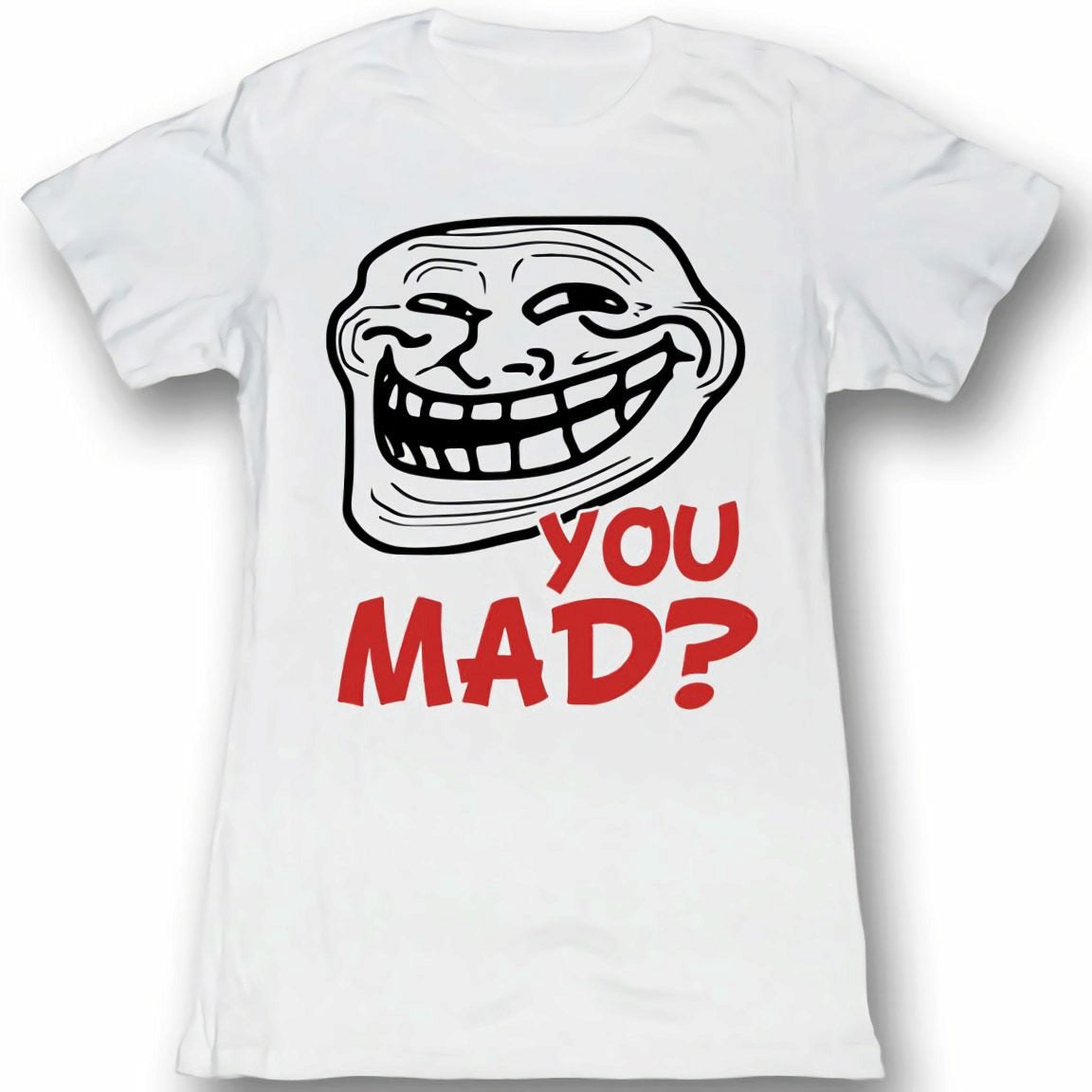 Troll Face You Mad? Juniors White Lightweight T-Shirt