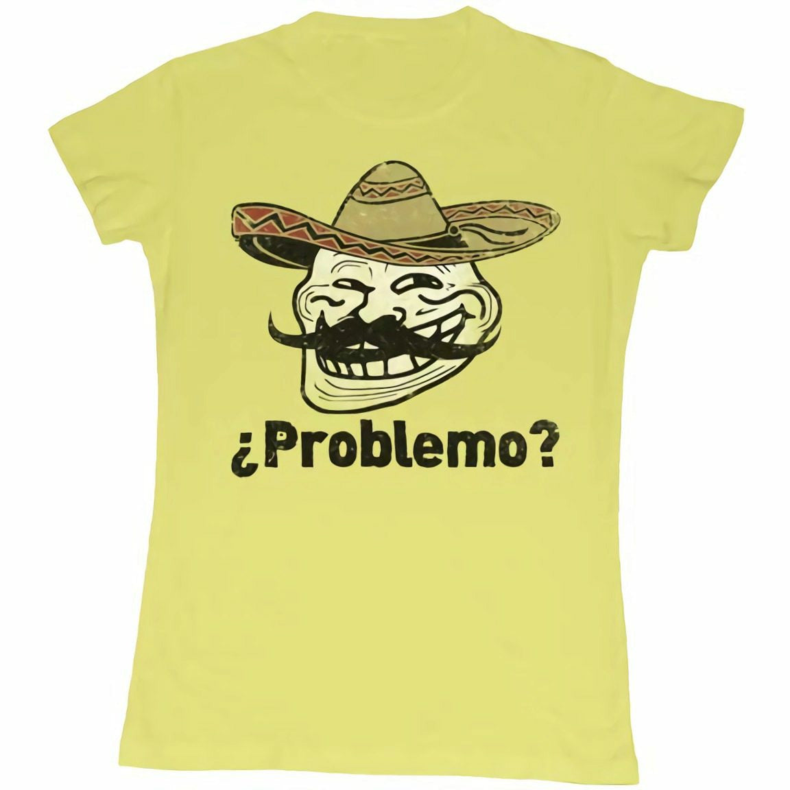 Troll Face You Mad Problemo? Juniors Yellow T-Shirt
