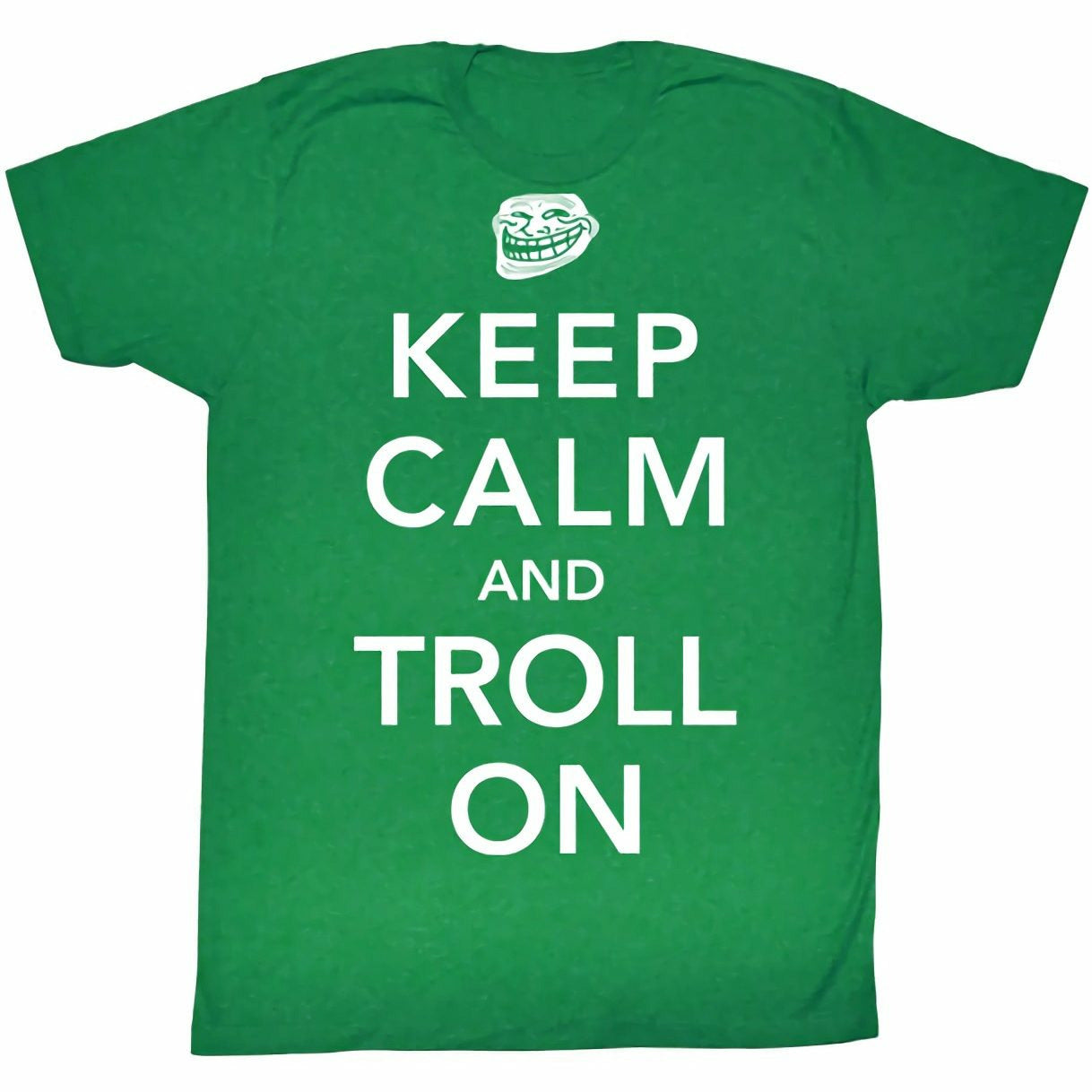 Troll Face Keep Calm and Troll On Mens Lightweight Kelly Green T-Shirt