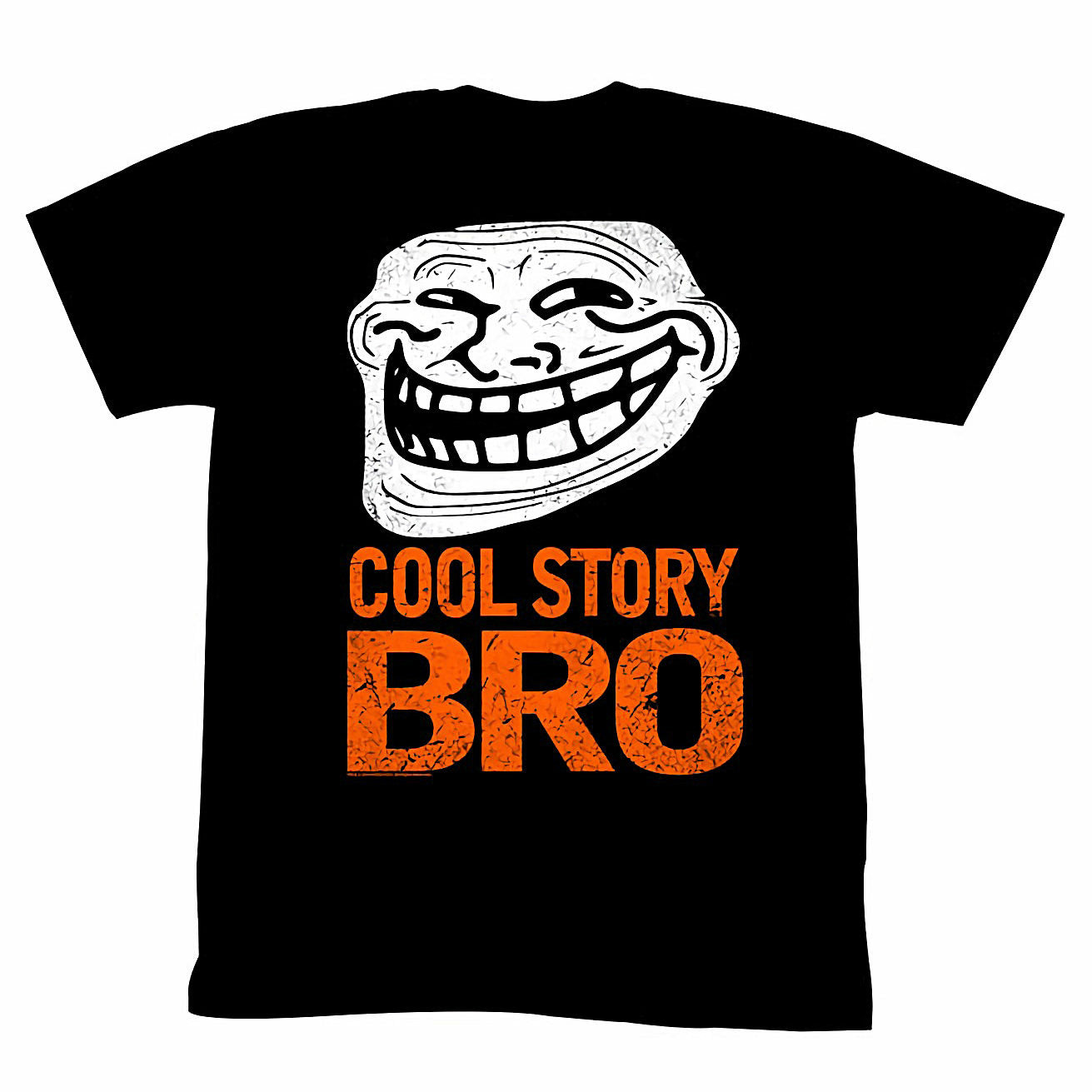 Troll Face You Mad Cool Story Bro Mens Neon Orange on Black T-Shirt