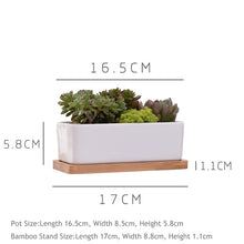 Load image into Gallery viewer, Rectangle White Ceramic Succulent Plant Pot + Tray