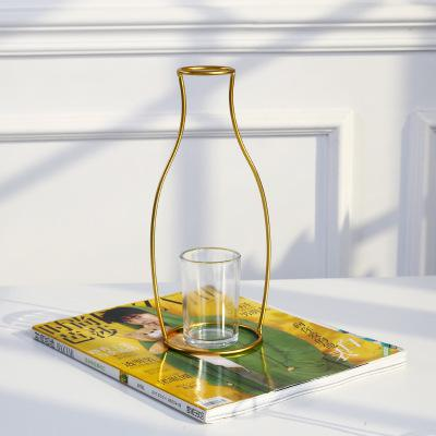 Contemporary Gold Iron Tube Vase
