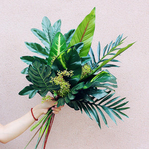 Artificial Tropical Leaf Bouquet