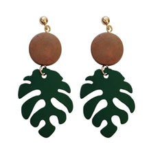 Load image into Gallery viewer, Wood Monstera Leaf Drop Earring