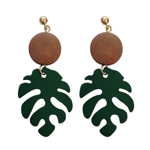 Wood Monstera Leaf Drop Earring