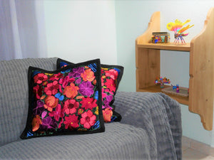 Housse Oaxaca - Fleurs multicolores - Hecho a Mano