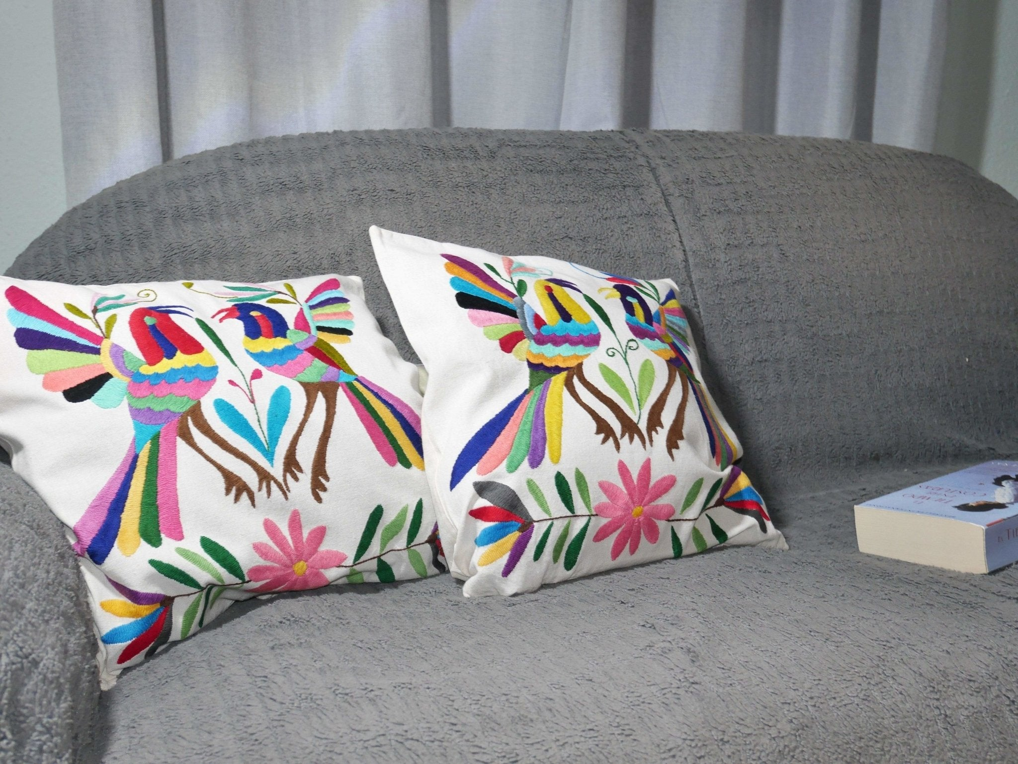 Housse Otomi - Oiseaux multicolores - Hecho a Mano