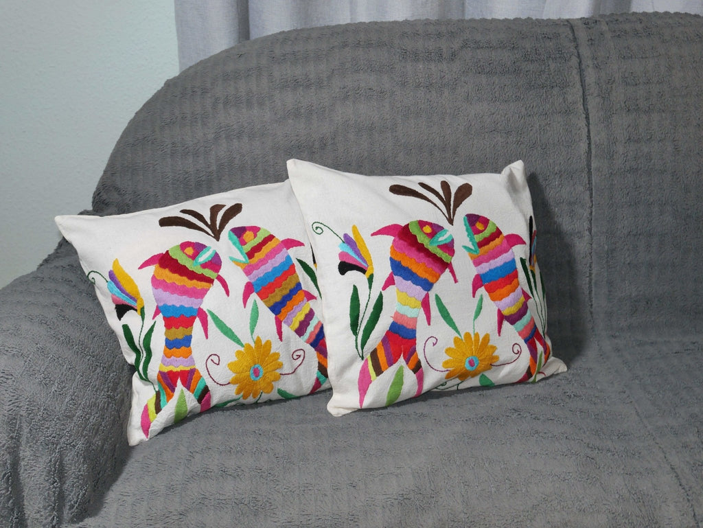 Housse Otomi - Poissons multicolores - Hecho a Mano