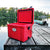 Chilly Moose 25L Chilly Ice Box in Canoe Red on the dock