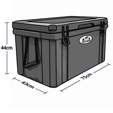 Exterior dimensions of the 75L Chilly Ice Box rotomold cooler