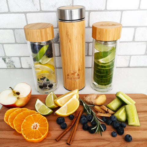 An assortment of different fruits, vegetables and herbs to infuse into your water.
