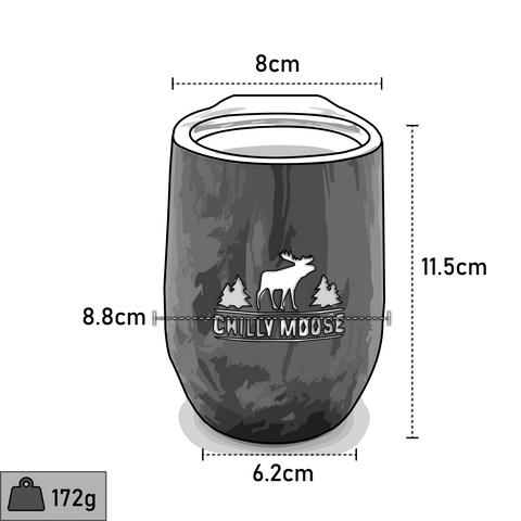 Chilly Moose 12oz Boathouse Tumbler dimensions