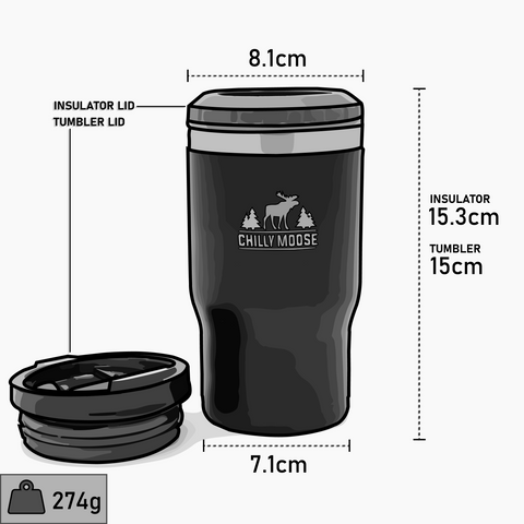 Chilly Moose 2020 Brent Quad, 14oz Insulator and Tumbler dimensions