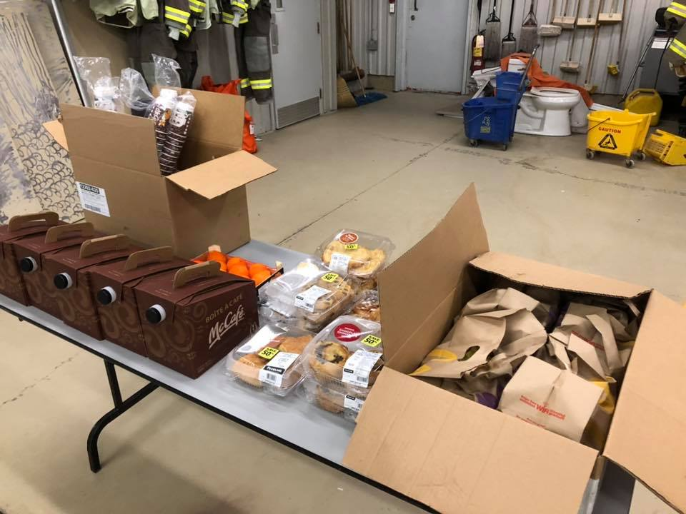 An assortment of food donated to the firefighters.