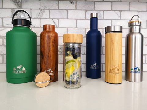 An assortment of Chilly Moose water bottles and tea infusers.