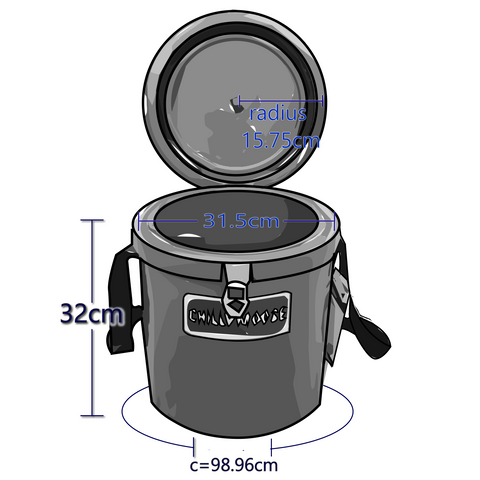 Exterior Dimensions For 12 Liter Chilly Moose Harbour Ice Bucket