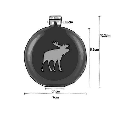 Dimensions For Chilly Moose Festival Flask Ornament