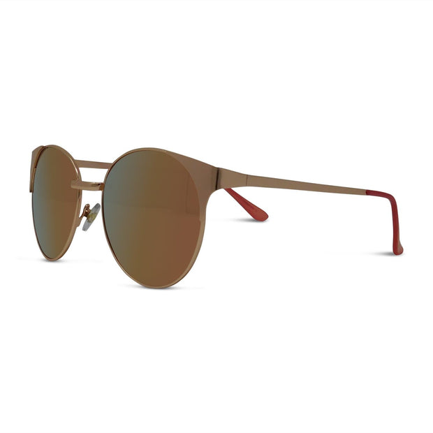 Polarized Metal Round Rose Gold Sunglasses