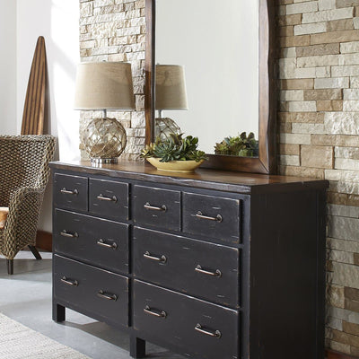 Big Sur Bedroom Six Drawer Dresser and Landscape Mirror