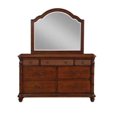 Isle of Palms Bedroom Brown Dresser and Mirror