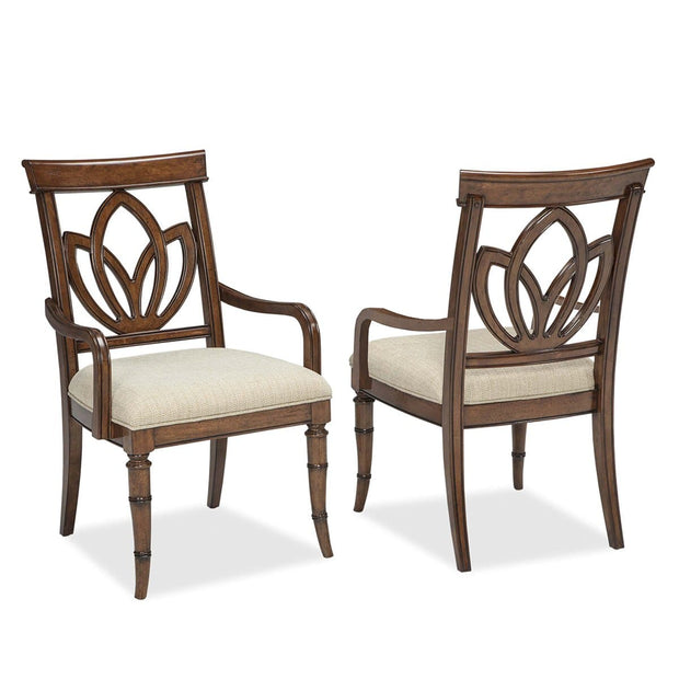 Isle of Palms Dining Brown Square Back Arm Chair (Set of 2)