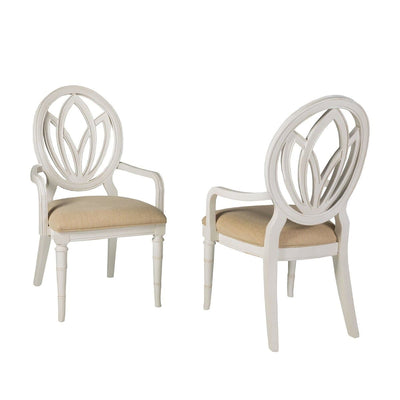 Isle of Palms Dining Antique White Round Back Arm Chair (Set of 2)