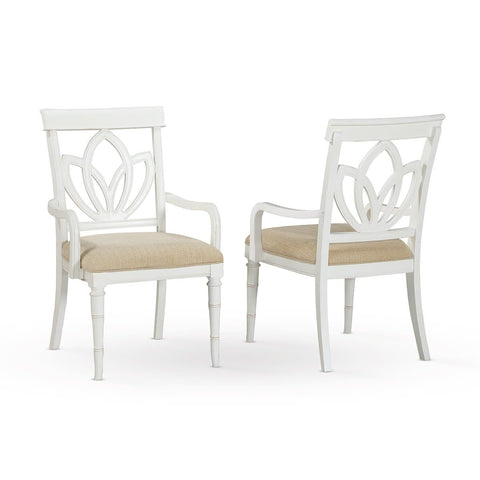 Isle of Palms Dining Antique White Square Back Arm Chair (Set of 2)