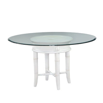 Isle of Palms Glass Top Dining Table with Antique White Base