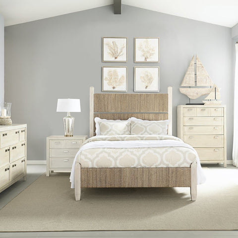 Graphite Bedroom Wood and Woven Queen Panel Bed