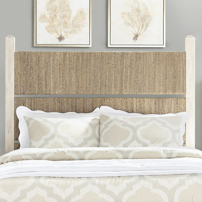 Graphite Bedroom Wood and Woven Queen Panel Bed Headboard